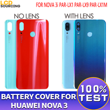 "Original 6.3"" Battery Cover For Huawei Nova 3 Back Glass Battery Housing Cover + Camera Lens For Nova 3 Back Cover Case Replace"