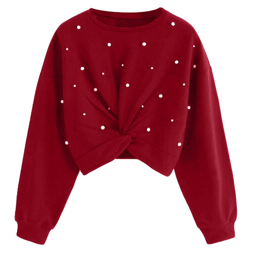Tops Blouses Beading V-Neck shirt Pearl Long-Sleeve Elegant Fashion Women Solid New title=
