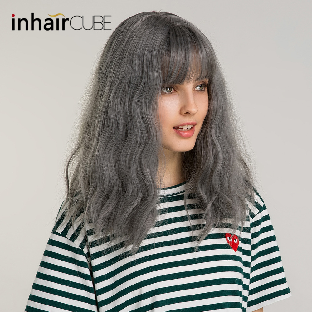 Inhaircube Long Deep Body Wave Women Synthetic Fake Scalp Wig Ombre Natural Mixed Hair With Bangs Personality Popular Style