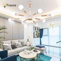 TRAZOS скандинавские светодиодные люстры для гостиной с белым черным железным деревянным подвесным светильником для спальни  серые металличе...