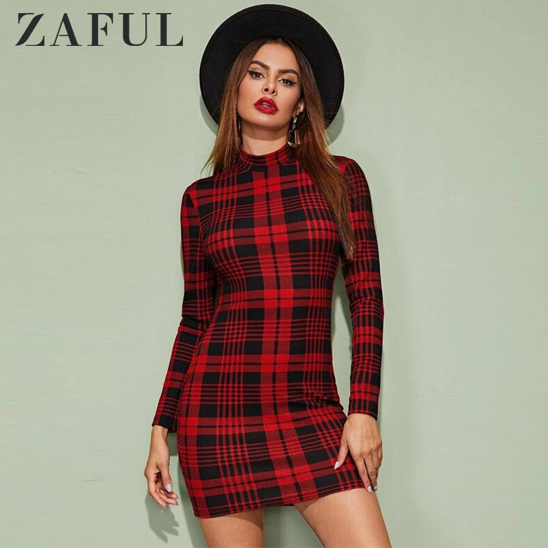 ZAFUL Winter Dress Women Vintage Plaid Houndstooth Bodycon Sexy Mini Dress 2019 Cocktail Mock Neck Sheath Party Christmas Dress
