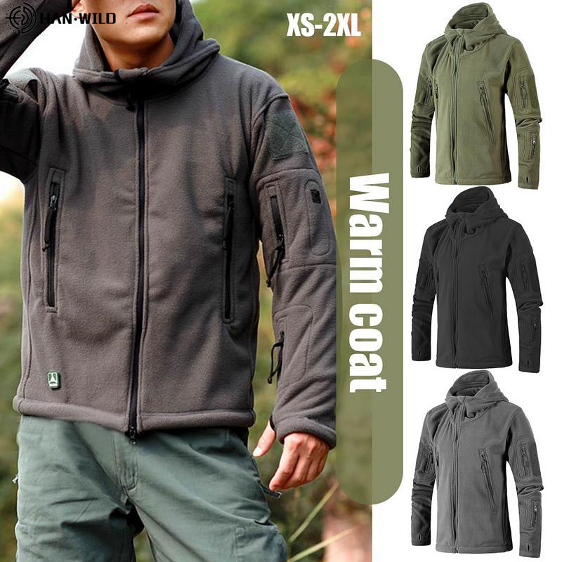Men Jacket Coat Army-Clothing Soft-Shell Military Tactical Fleece Multi-Pocket Uniform title=