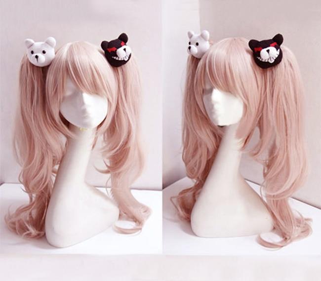 Dangan Ronpa Danganronpa Enoshima Junko Cosplay Wig Pink Long Wavy With Ponytail Clip Heat Resistant Cosplay Wig + Bear Hairpins