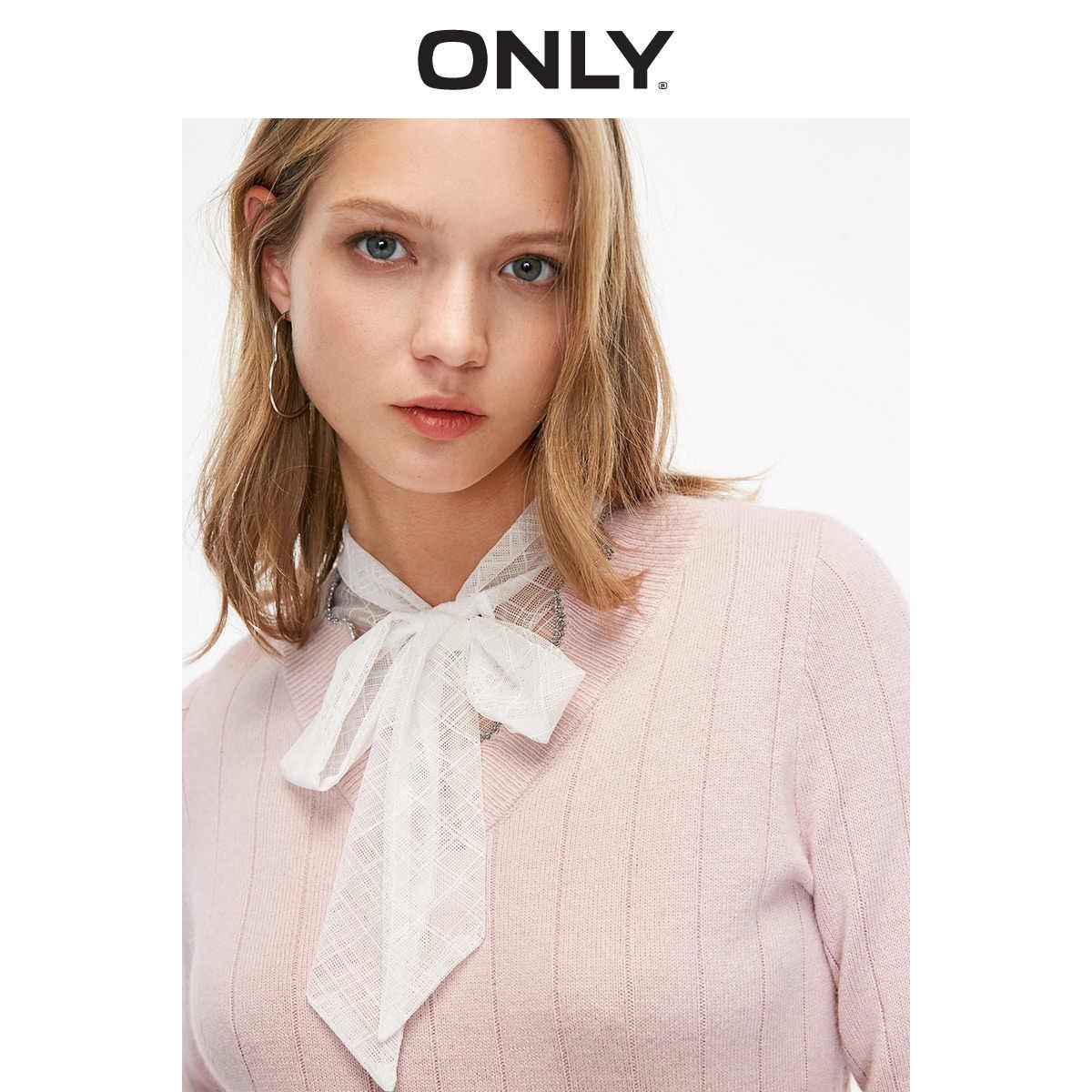 여성의 가짜 2 피스 V-neckline Bowknot 풀오버 스웨터 | 119124542