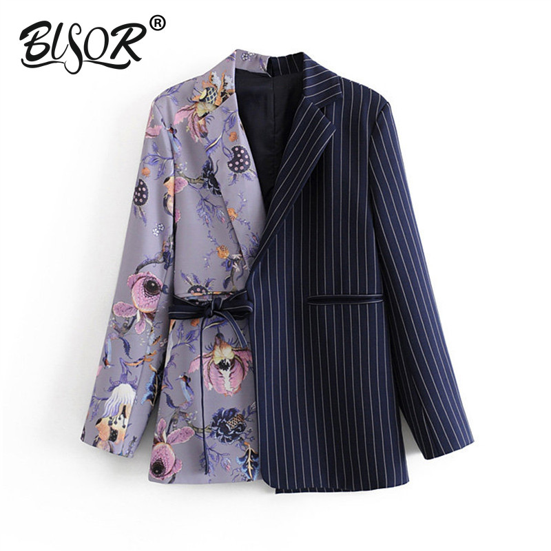 Vintage Stylish Striped Patchwork Office Lady Blazers Coat Women 2019 Notched Collar Long Sleeve Chic Blazer Outerwear Feminino