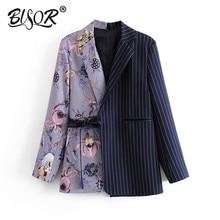 Vintage Stylish Striped Patchwork Office Lady Blazers Coat Women 2019 Notched Co