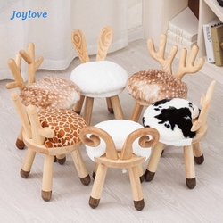 JOYLOVE Nordic Creative Ins Children's Solid Wood Stool Kindergarten Table and Chair Stool Baby Chair School Desk and Chair