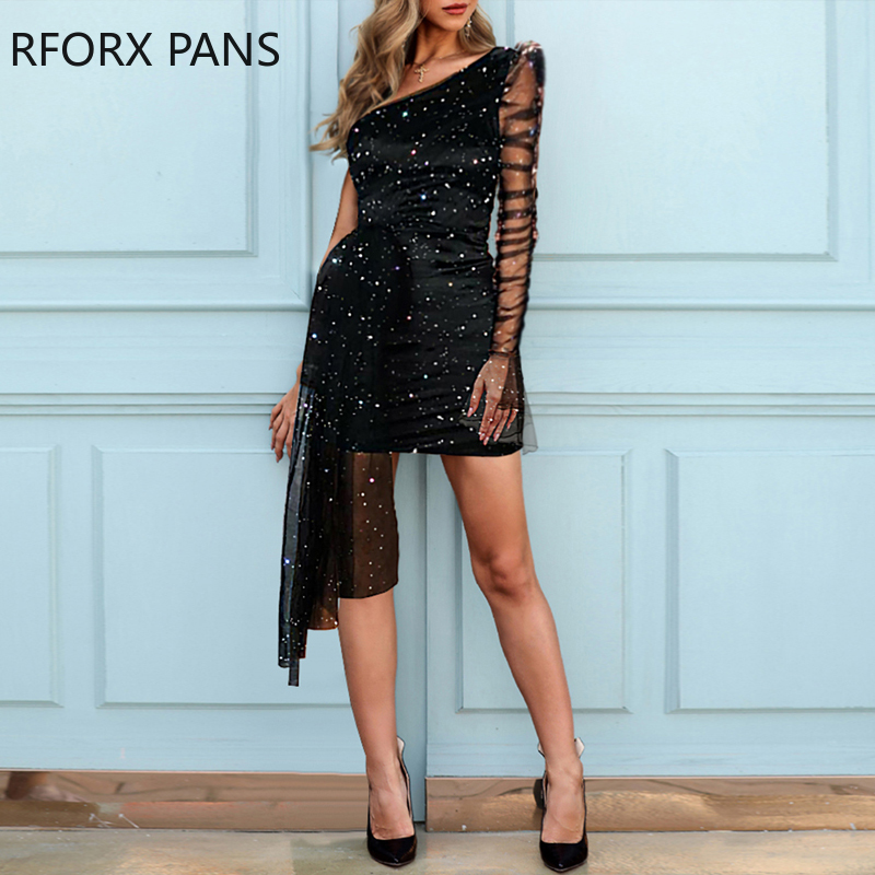 H44196623e9a64e4aada6a061d8bfffbcx - Glitter One Shoulder Sheer Mesh Ruched Long Sleeve Bodycon Dress Women Dress