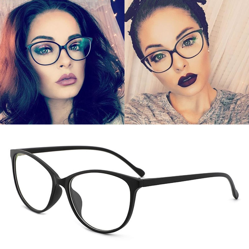 Feishini 2020 Fashion Women Cat Eye Eyeglasses Frame Optical Glasse Frame Ladies Retro Eyewear Transparent Fake Glasses Print