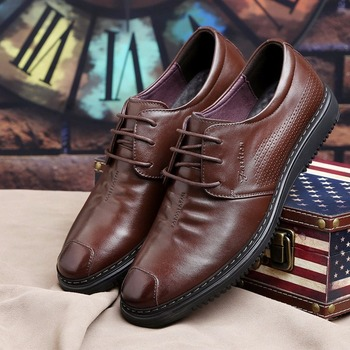 Genuine Leather Shoes Men Brand Footwear Non-slip Thick Sole Fashion Men's Casual Shoes Male High Quality Cowhide Loafers F8-49