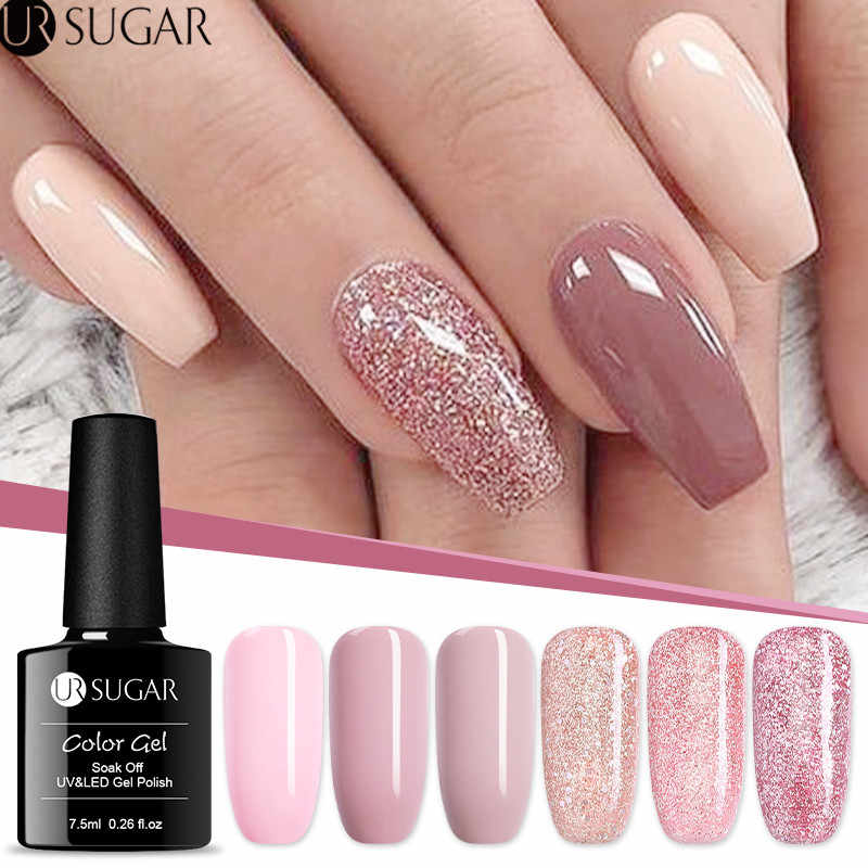 UR GULA 7.5ml Rose Emas Glitter UV Gel Cat Kuku Payet Rendam Off UV Gel Varnish Nude Warna Kuku gel Polish Nail Art pernis