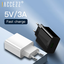 !ACCEZZ QC3.0 Fast USB Charger 5V 3A Quick Charge For iPhone Xiaomi Samsung S10 Huawei P20 P30 Mobile Phone EU Plug Wall Charger(China)