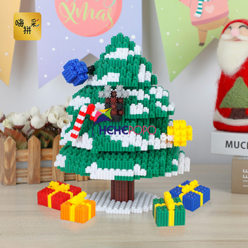 22cm 3980pcs Christmas Tree Block Merry Christmas Gift DIY Middle Bricks Building Blocks for Children > 6 Years Old