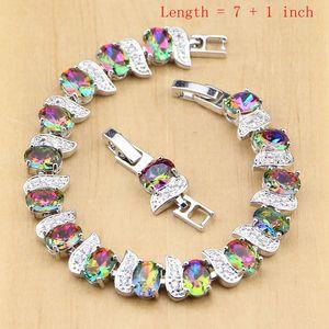 Image 2 - 925 Silver Jewelry Mystic Rainbow Fire Imitation Stones Jewelry Sets Women Wedding Earrings/Pendant/Necklace/Rings/Bracelet