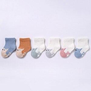 Lawadka 6 Paare/satz Neugeborenen Baby Jungen Socken Baumwolle Baby Mädchen Socken Herbst Winter Baby Socken für Mädchen Cartoon Striped Infant sache