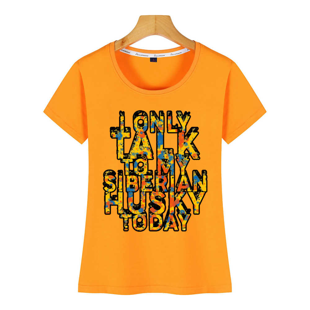 Topy T Shirt kobiety streszczenie siberian husky psy d3 wzory 34 rękaw Humor biała bawełniana koszulka damska