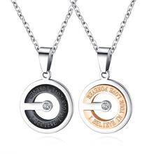 Couple Round CZ Black/Rose Gold Color Pendant Necklace For Man Women Stainless Steel Link Chain Jewelry Gift Dropshipping недорого