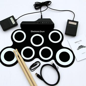 Portable Electronic Drum Digital USB 7 Pads Roll up Drum Set Silicone Electric Drum Pad Kit with DrumSticks Foot Pedal tama hp910ln speed cobra drum pedal w case