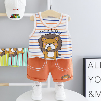 Newborn Boy Summer Set Baby Boy Clothes Toddler Infant Boy Clothing Sets Casual Stripe Cartoon T Shirt Pants 2Pcs Baby Outfit 2019 new summer casual camouflage newborn baby boy toddler clothes set t shirt tops pants 2pcs sets cotton kids outfits clothing