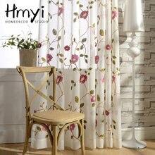 Тюлевые занавески с цветочной вышивкой для гостиной в американском