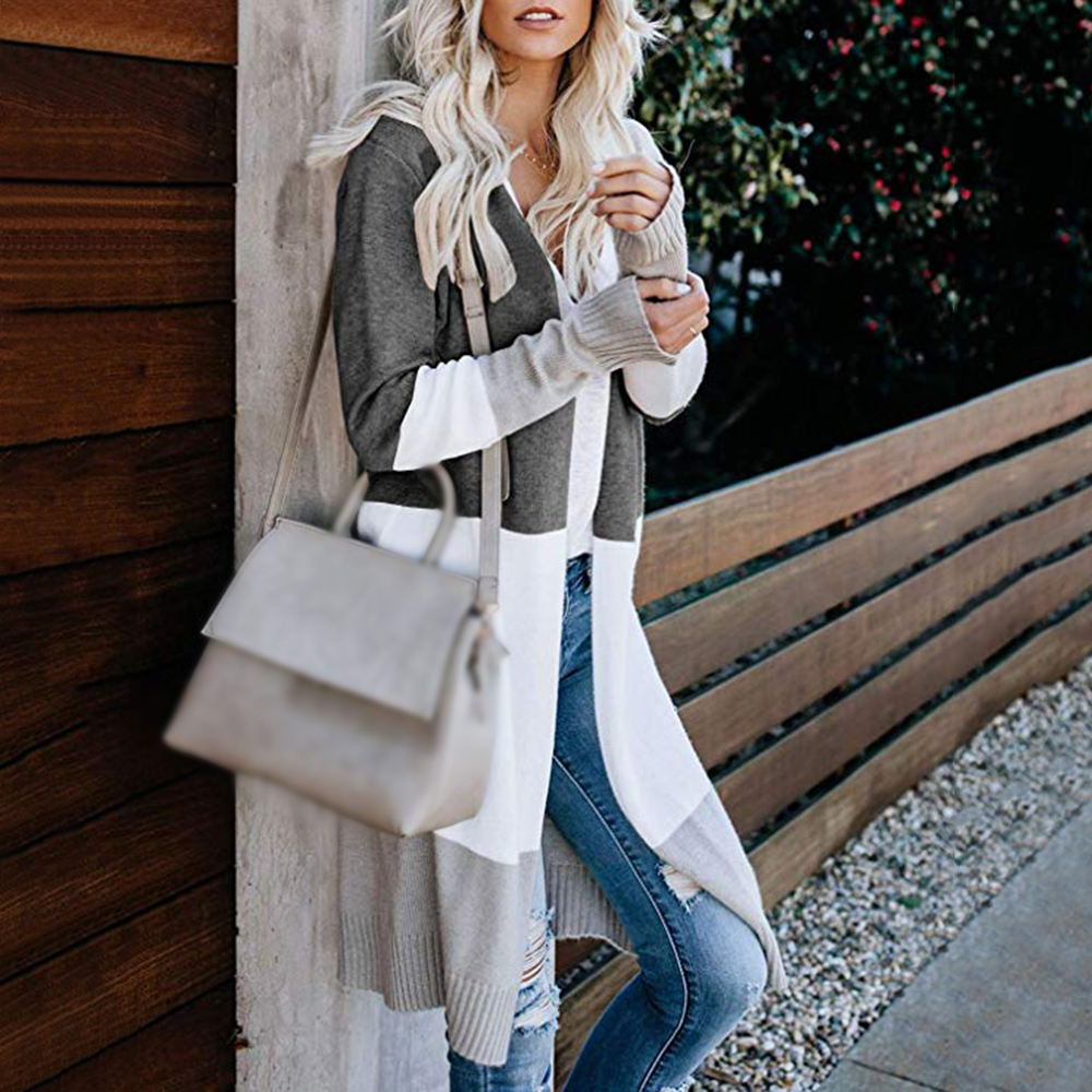 2020 Spring Women Sweater Striped Color Block Draped Loose Cardigan Long Sleeve Casual Knit Sweater Coat