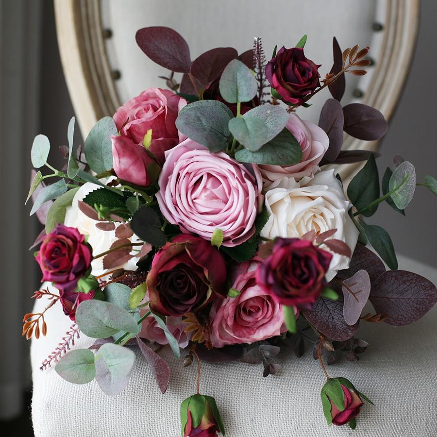 JaneVini Vintage Burgundy Pink Wedding Silk Bouquets Artificial Roses Flowers Hydrangea European Style Bride Bouquet Accessories
