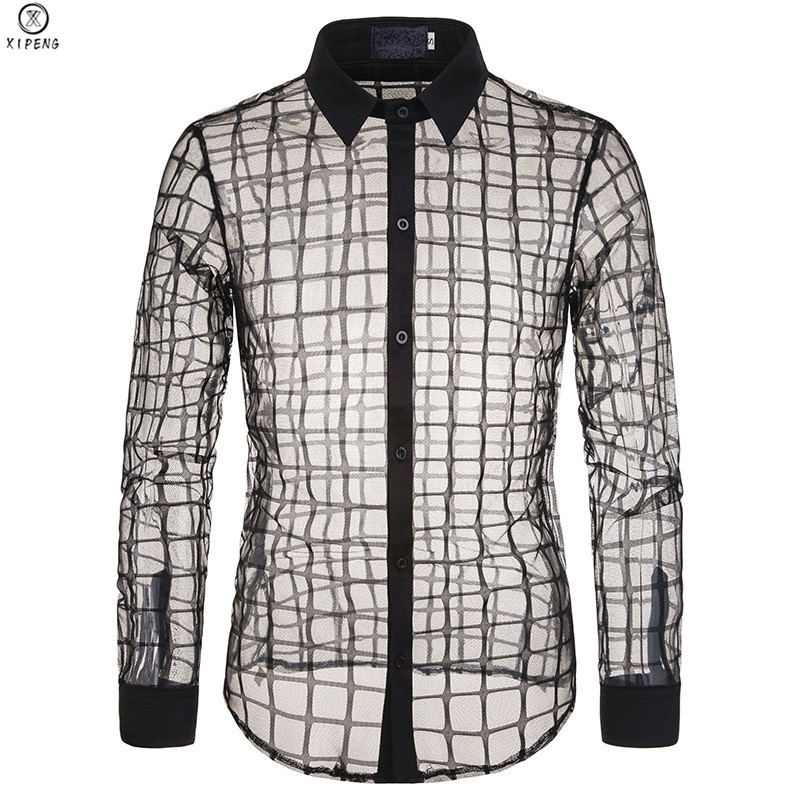 Mens Black Plaid Checked Mesh See Through Shirt 2019 Sexy New Fishnet Transparent Shirts Male Party Event Prom Clubwear Chemise