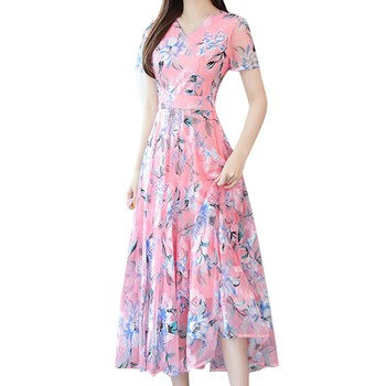 Floral Print Short Sleeve Dresses Plus Size