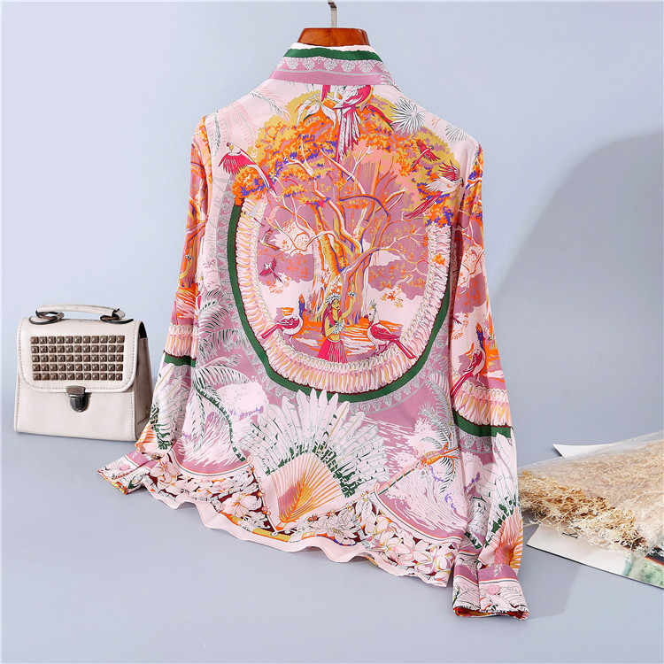 Chemise vintage en soie imprimée à revers, manches longues, pour femmes européennes et américaines, à la mode, printemps 2020