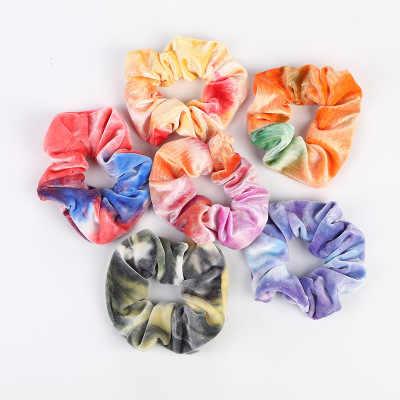 Women Hiar Rope Elastic Tie-dye Hair Ring Scrunchie Ponytail Holder Hair Tie New