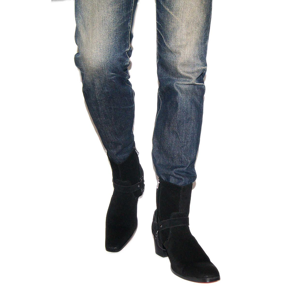 [90% di SCONTO Prodotto Difettoso NOI] Stivali Tacco Alto Per Gli Uomini Fatti A Mano In Pelle Vera Pelle Scamosciata di Marca Scarpe Classiche Del Progettista trasporto veloce