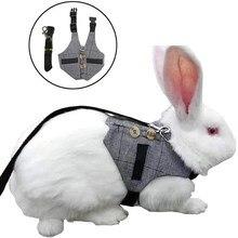 Arnês pequeno do coelho do animal de estimação, colete exterior respirável ajustável do animal de estimação da correia da caixa do coelho com corda puxando, s/m/l 2020 recém chegados