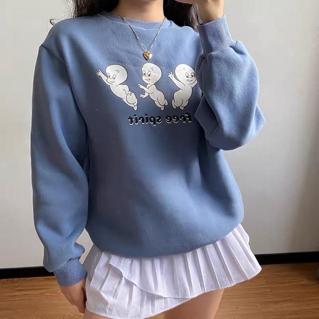 Free Cartoon Print Female Cute Pullover  Thick hoodie Warm Long Sleeve Tops Plus Size Loose Haze Blue sweatshirt women 3