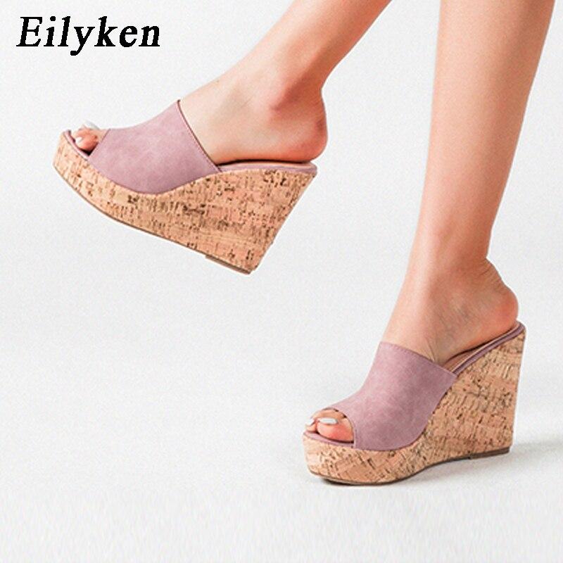 Eilyken 2020 New Summer Woman Shoes High Heel Platform Wedge Slippers Fashion Casual Slides Ladies Peep Toe Gladiator Sandals