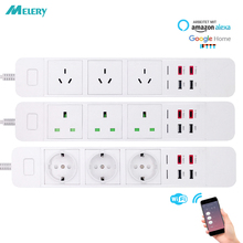 WiFi Smart Power Strip Surge Protection Outlet Extension Socket with USB Type c  Intelligent Plug Remote for Alexa Google Home