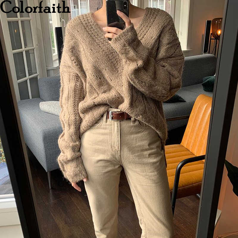 Colorfaith New 2019 Autumn Winter Women's Sweaters V-Neck Knitting Tops Korean Style Minimalist Elegant Vintage Ladies SW8705