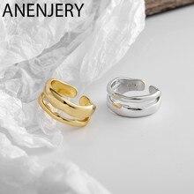 ANENJERY – bagues ondulées en argent Sterling 925 pour femmes, bijoux en forme de vague, irrégulier, ouverts, en or, cadeaux de fête