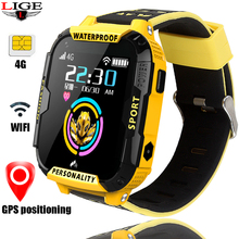 LIGE 4G childrens videophone watch GPS + LBS WIFI smart with pedometer sleep monitoring camera music playback function