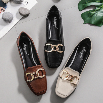 цена на Luxury Brand Women Shoes Ballet Flats Loafers Leather Casual Shoes Woman Square Toe Slip-On Spring/Autumn New Plus Size 34-43