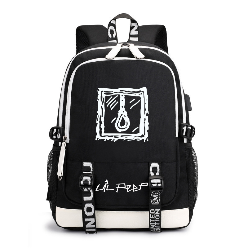 2019 Lil Peep Backpack Women And Man Student Bag For Laptop Bagpack For Girls With USB Charging Port Canvas Bag Headphone Cable