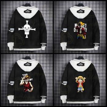 Anime One Piece Denim Jacket ONE PIECE D Luffy Hooded Jeans Sweatshirt Unisex Hole Cosplay Hoodie