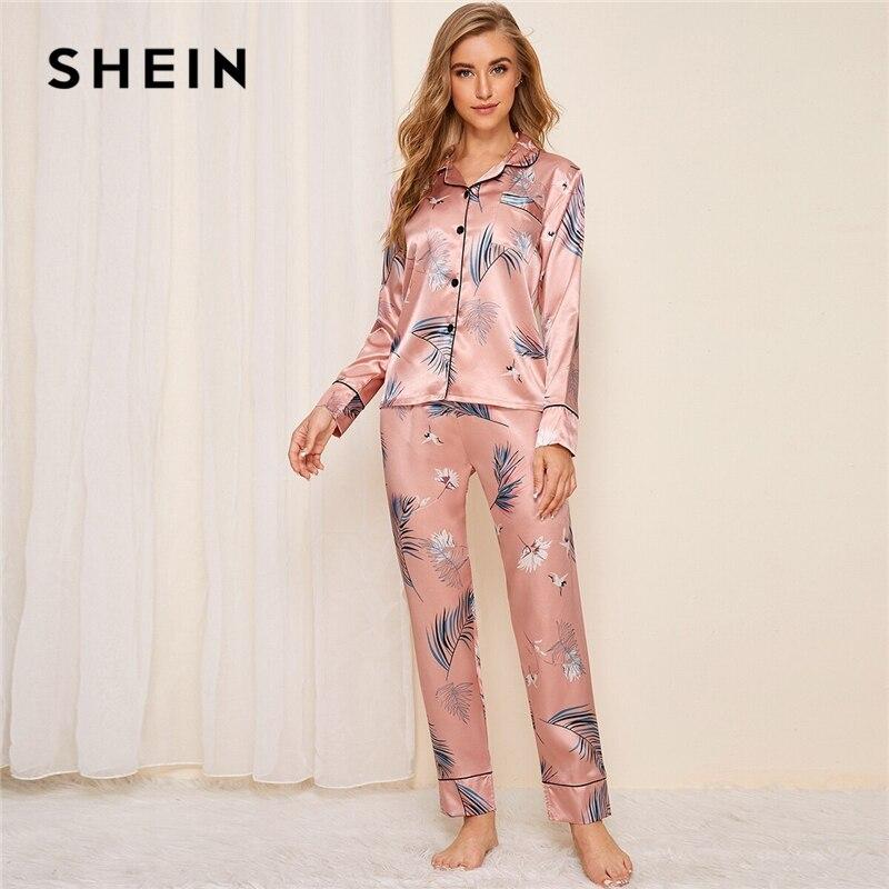 SHEIN Pink Crane and Leaf Print Satin Pajama Set Women Autumn Casual Short Sleeve Pocket Sleepwear Long Pants Pajama Sets 23