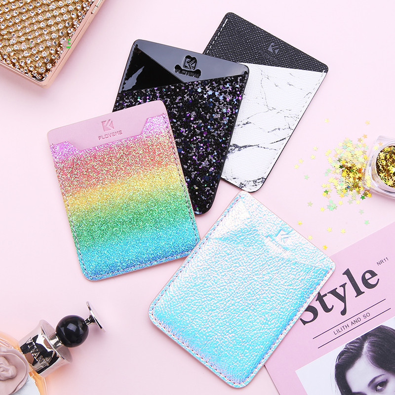 1Pcs Fashion Flexible Mobile Phone ID Card Holder Wallet Credit Pocket Adhesive Back Sticker Pouch Mobile Phone Back Cover