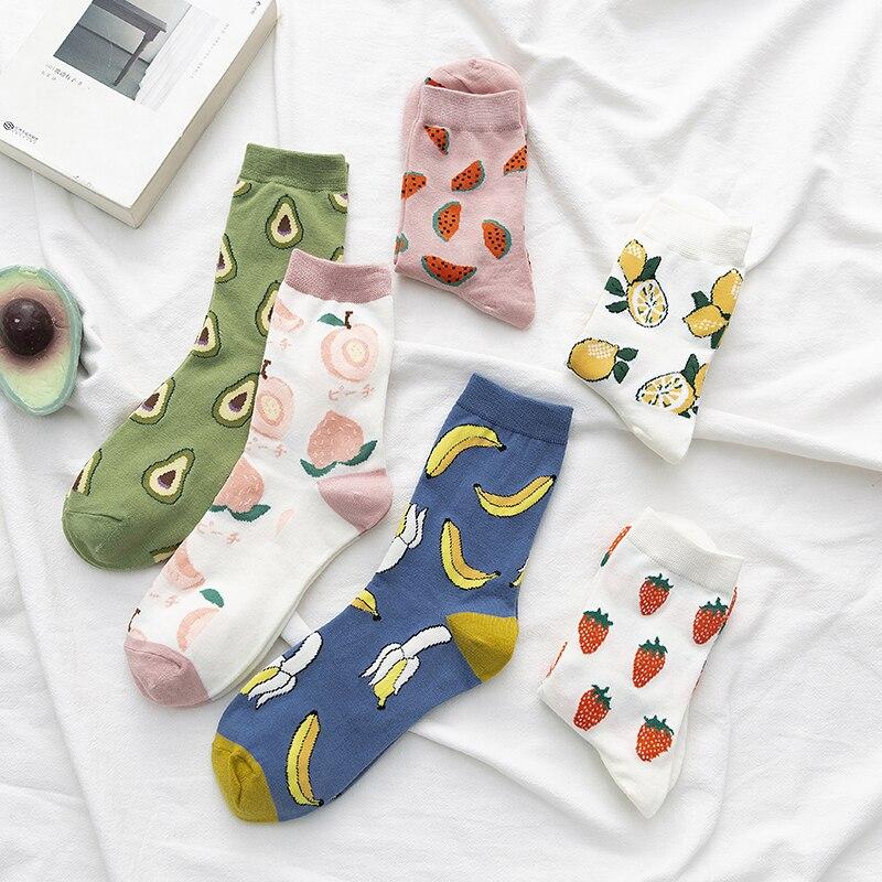 Calcetines de algodón con dibujos animados para mujer, calcetín de verano, fruta, sandía, limón, coreano, Kawaii, moda urbana, Otoño e Invierno