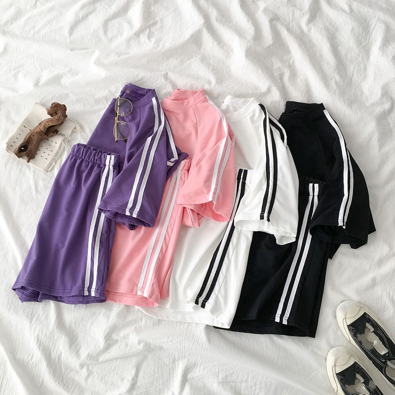 Casual Tracksuit Summer Two Piece Outfits Short Sleeve T-shirt   High Waist Side Striped Pant Sets