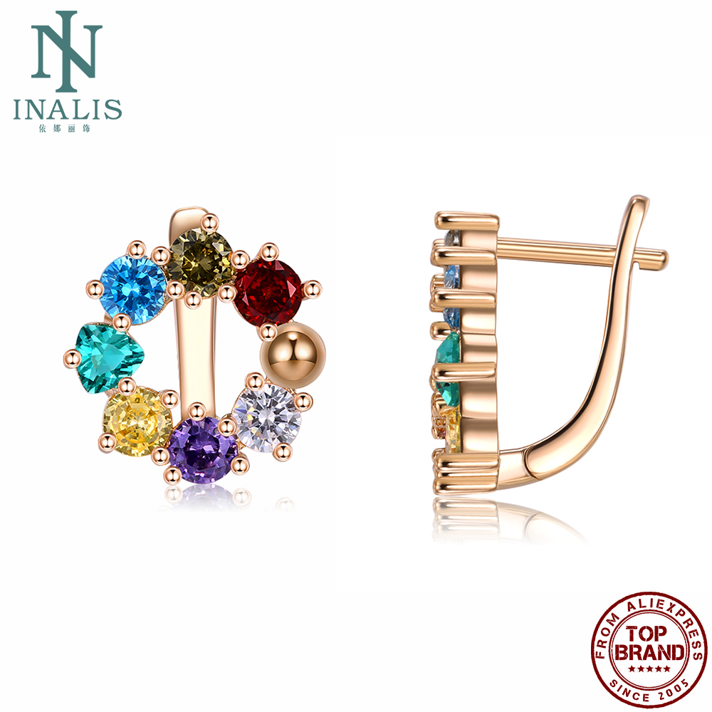 INALIS Copper Clip Earrings For Women With Fashion Zirconia Earring Female Anniversary's Day Fine Jewelry Gift The New Arrival
