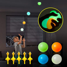 4pcs Anti-Stress Ball With 1Pc Slingshot Chicken Glow Stress Relief Celing Balls sticky Globbles Squash Balls Toy For Kids/Adult