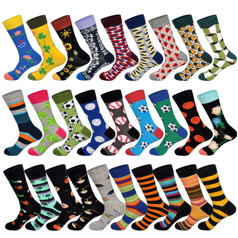 LIONZONE New 2019 Spring Funny Football Basketball Printed Men Socks Colorful Striped Diamond Happy Socks Skate Cotton Sokken
