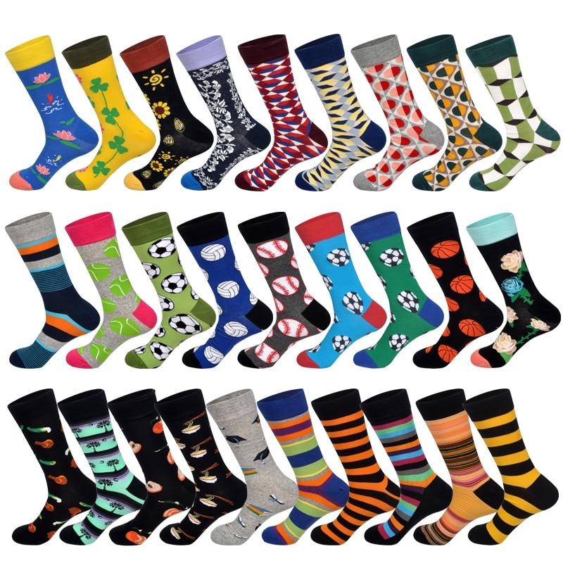 LIONZONE New 2019 Spring Funny Football Basketball Printed Men Socks Colorful Striped Diamond Happy Socks Skate Cotton Sokken
