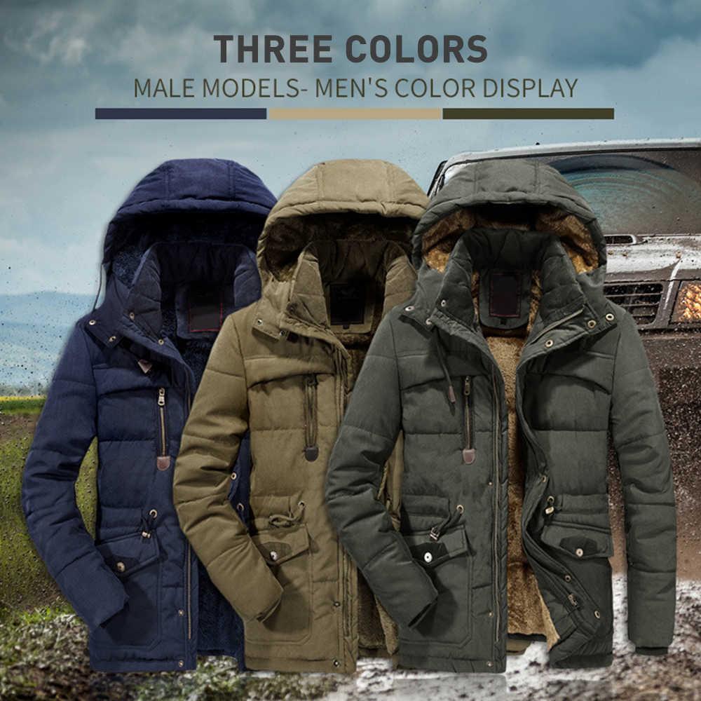 חורף מעיל גברים מותג בגדי אופנה מזדמן Slim עבה חם Mens מעילי מעיילים עם ברדס ארוך מעילי זכר בגדים